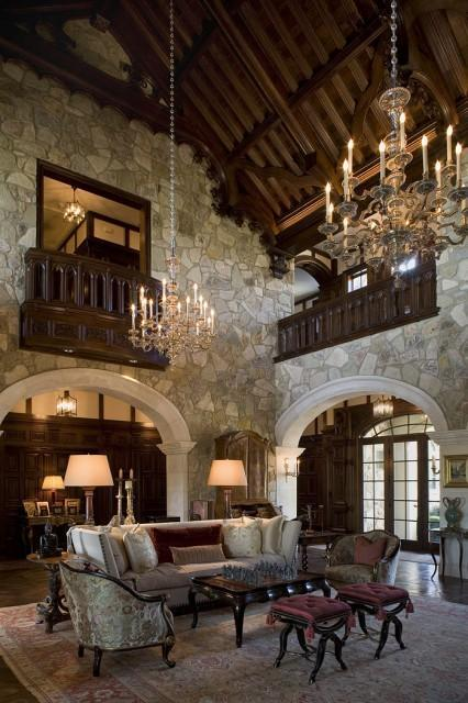 beautiful stone living room in a Tudor style home