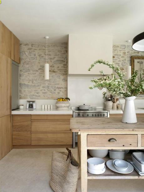 beautiful stone walled kitchen