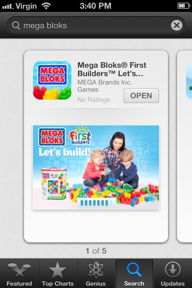 A fun find: Mega Blocks First Builders, Free App