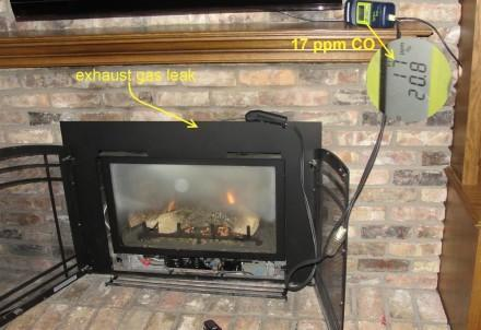 Exhaust gas leak at fireplace