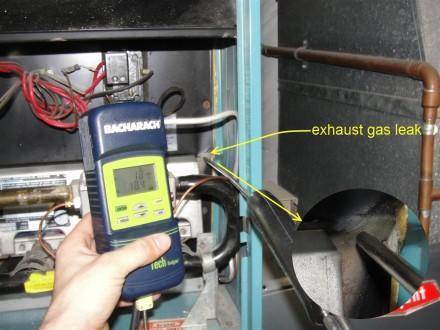 Exhaust gas leak at furnace