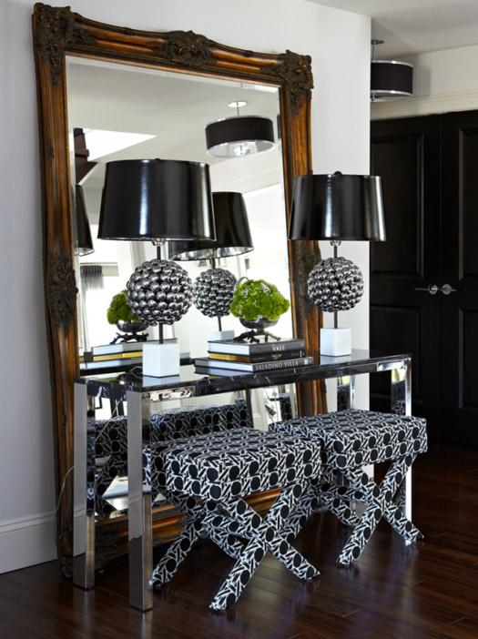 black accents in an entryway