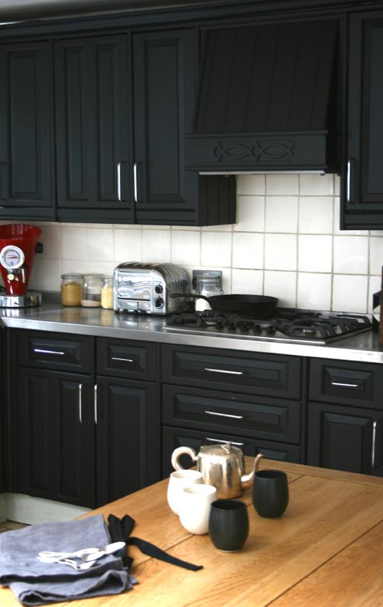 black cabinetry from Bodie and Fou