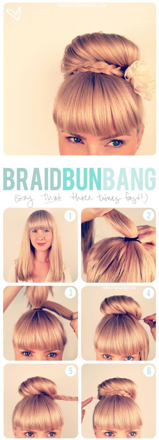 Braided Bun with Bangs