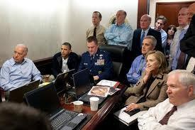 infamous photo of President Obama and his cabinet watching the raid on the OBL compound