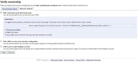 Verify Your Blog in Google Webmaster Tools