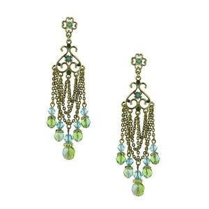 Green & Blue Hues Tapestry Chandelier Earrings
