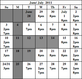 All New People July calendar