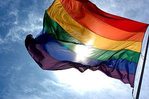 Rainbow flag flapping in the wind with blue sk...
