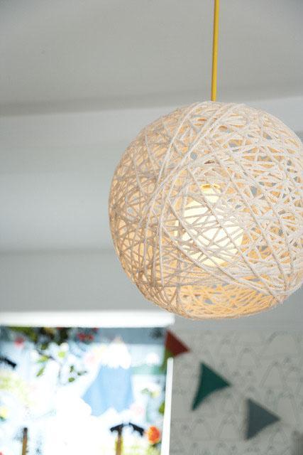 yarn pendant lamp (Amanda Kingloff in Parents June 2011)