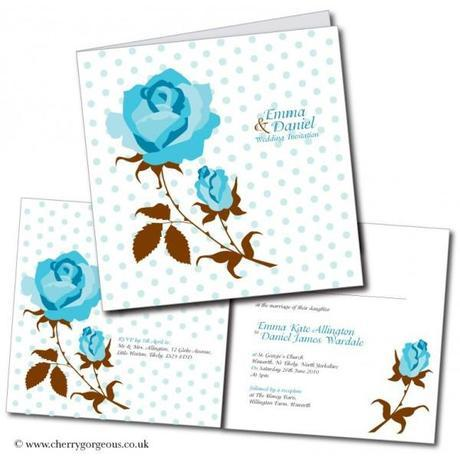 Vintage blue rose wedding invitations by Cherry Gorgeous