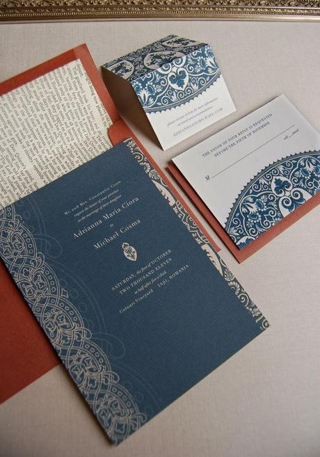 Vintage navy blue wedding invitation suite by Sarah Drake on Style Me Pretty
