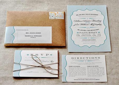 Rustic blue vintage wedding invitataions via Wedding Bee blog