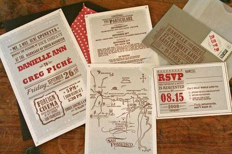 Vintage wedding invitations with red detail from Oh So Beautiful Paper