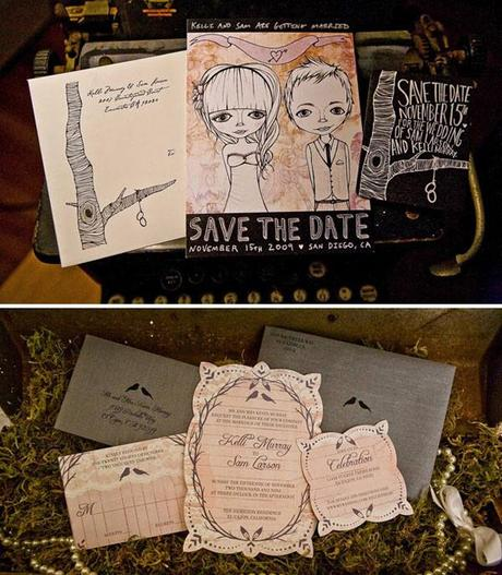 Illustrated vintage garden wedding invitation via Green Wedding Shoes blog
