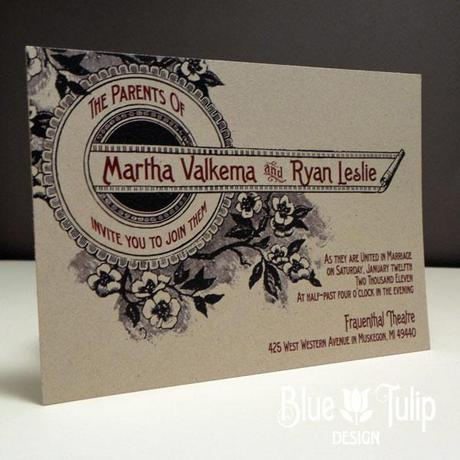 vintage floral marquis wedding invitation by Blue Tulip Design