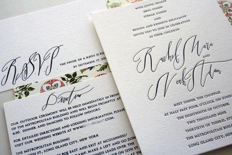 vintage calligraphy wedding invite via oh so beautiful paper blog