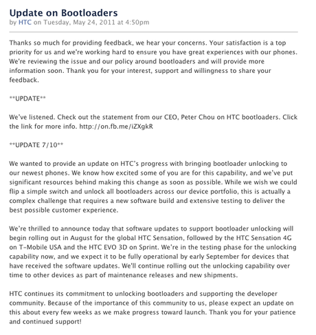 HTC Unlocked Bootloaders
