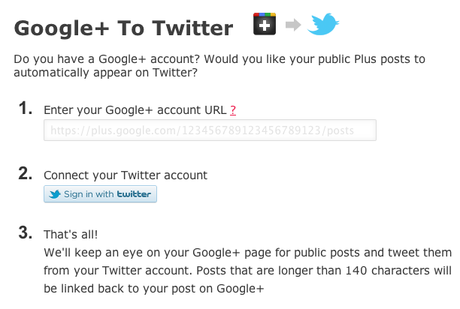 Tweet from Google Plus