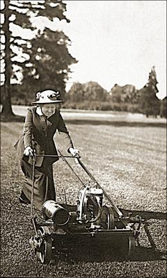 My granny mowing the grass, is that organic or not?