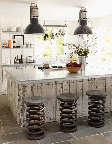 Lake Home Kitchen with Spring Stools