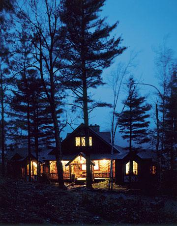 Cozy Cabin at Night