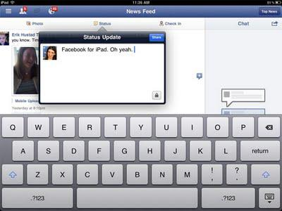 NEW FACEBOOK APP FOR I PAD 2 REVEALED