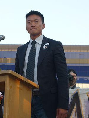 Lt. Dan Choi at a Proposition 8 rally