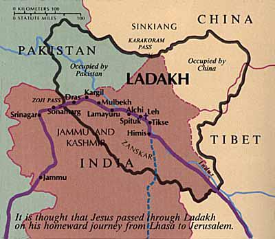 Mapa zobrazujúca putovanie Ježiša cez Ladak do Jeruzalema