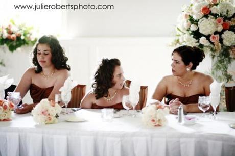 funny bridesmaids at the head table