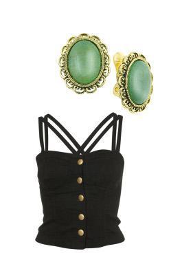 jade green button earrings