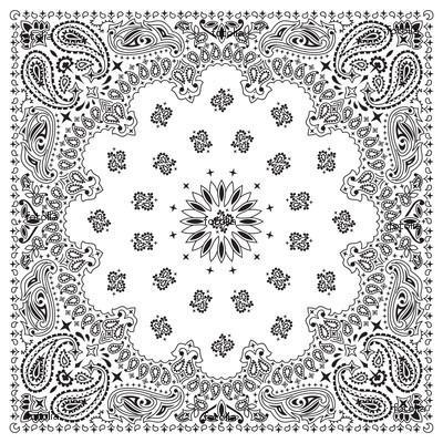 Black And White Paisley Bandana Pattern Bandana-white Bandana-black
