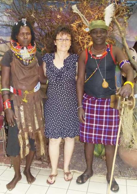 Making new friends at the tourism show at Nairobi's Sarit Centre. Uganda travel blog