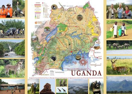 Uganda souvenir map photo montage. Uganda travel blog