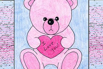 how to draw a valentine teddy bear