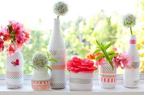 washi tape decorated vases