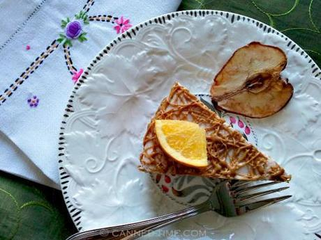 Orange-Pear Vegan Cheesecake with Biscoff Drizzle - GF w/ Raw Options from Canned-Time.com