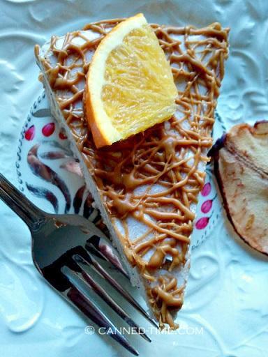 Vegan Orange - Pear Cheesecake with Biscoff Drizzle