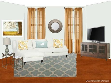 Design Board (Blue and Gold Family Room)