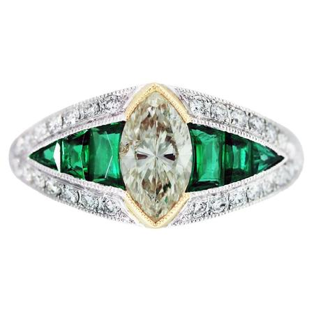 Diamond Emerald Platinum engagement ring, Vintage Style Engagement Ring