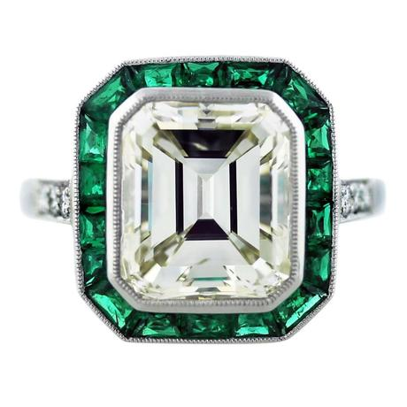 emerald and diamond engagement ring, emerald halo engagement ring, emerald cut ring