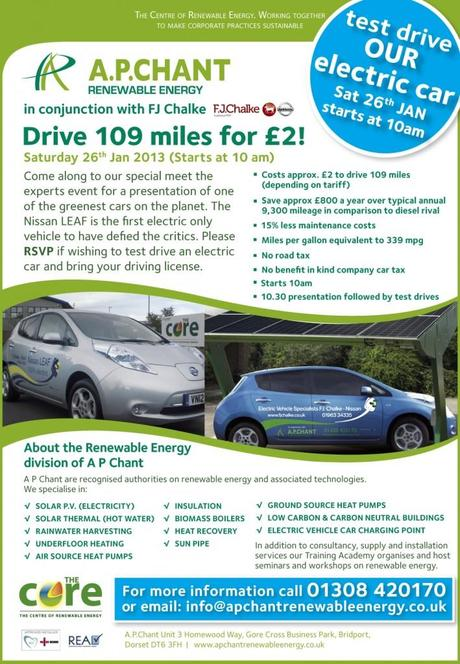Test drive a Nissan LEAF at A.P. Chant's Renewable Energy Event in Bridport – 26th January 2013