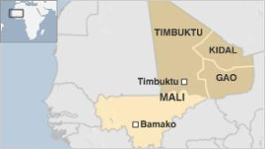Divided and occupied Mali before French intervention