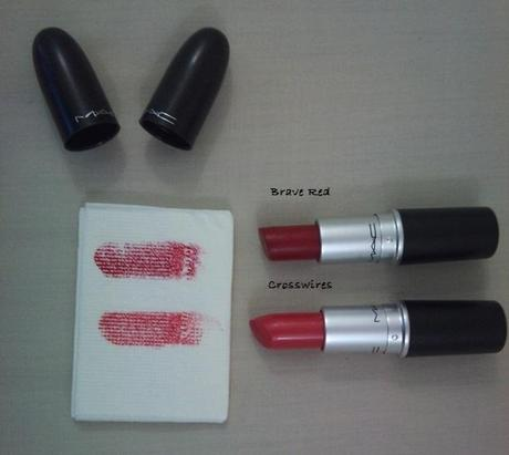 MAC Crosswires and MAC Brave Red lipstick