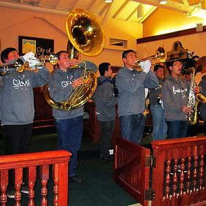 Members of the Gabrielino Eagle Marching Regiment perform at San Gabriel's first City Council meeting for 2013. - Photo by Jim E. Winburn