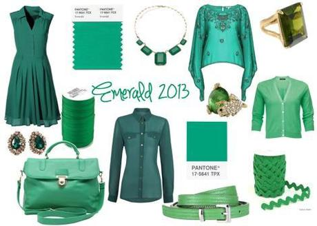 emerald pantone color of the year 2013 green dress top bag belt accessories jewellery