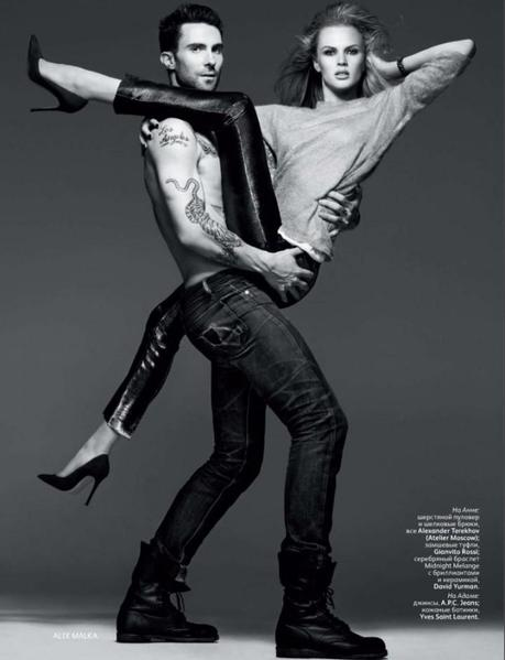 Anne Vyalitsyna and Adam Levine by Alix Malka for Vogue Russia November 2011 2
