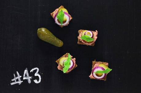 Rye bread with liver paté and pickles # 43