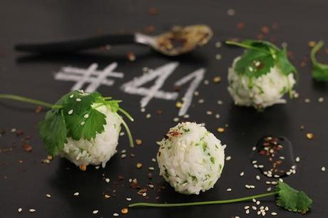 Rice balls with cilantro & chili soy dip # 41