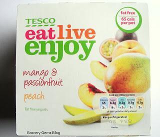 New Tesco Eat Live Enjoy Range - Mango & Passionfruit and Peach Yogurts
